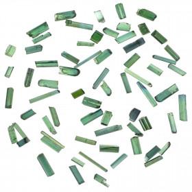 Petits cristaux de tourmaline verte (Elbaïte) - Qualité extra - 0.5 à 1.5 cm - Lot de 4