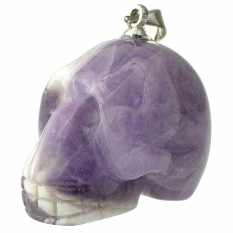 Pendentif crâne en améthyste à chevron (type allien)