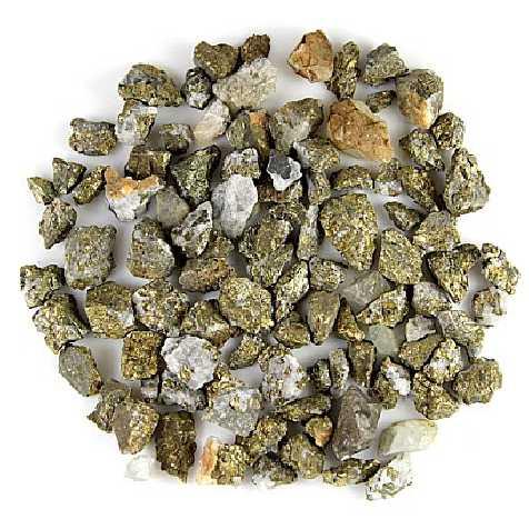 Pierres brutes chalcopyrite jaune - 1 à 2 cm - 50 grammes