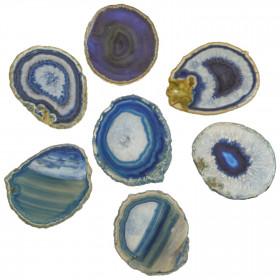 Tranche d'agate polie bleue - 10 à 12 cm