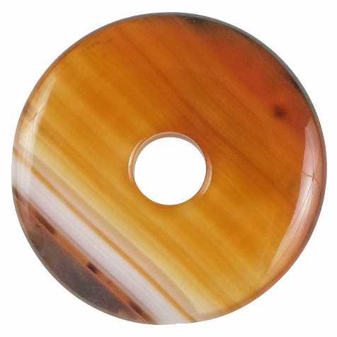 Donut Pi Chinois en agate colorée orange pour pendentif
