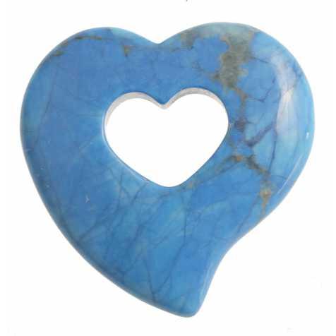 Pendentif donut coeur en howlite teintée bleu