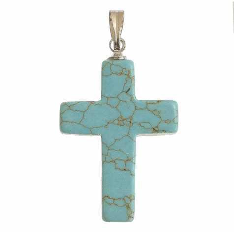 Pendentif croix crucifix en howlite teintée bleu