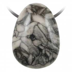 Pendentif goutte pierre percée en pinolite