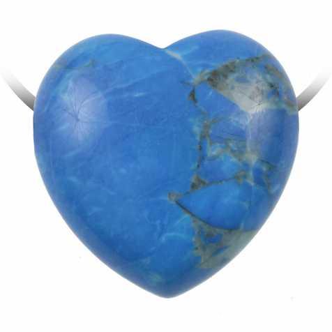 Pendentif coeur pierre percée en howlite teintée bleu