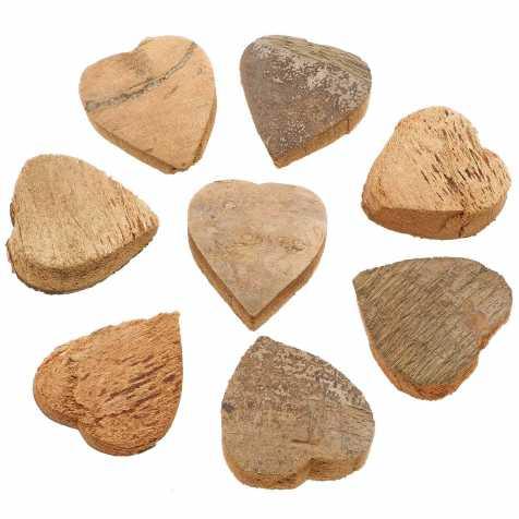Coeurs découpés dans une noix de coco - Lot de 10