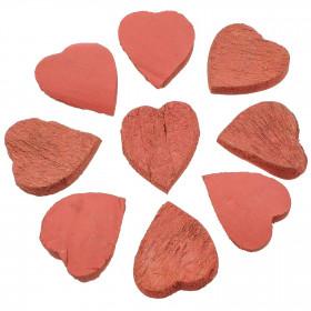 Coeurs rouges découpés dans une noix de coco - Lot de 10