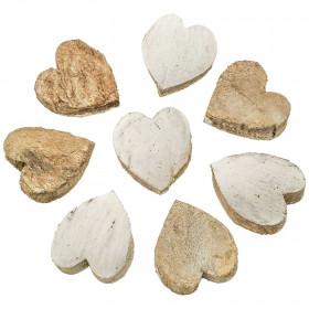 Coeurs blancs découpés dans une noix de coco - Lot de 10