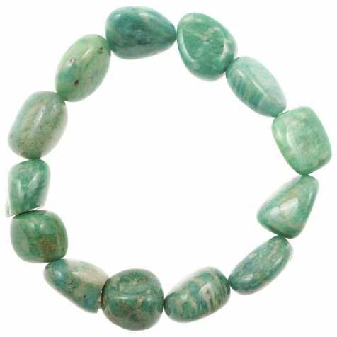 Bracelet en amazonite de Russie - Perles pierres roulées