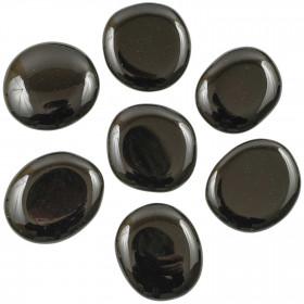 Galet plat obsidienne noire - A l'unité