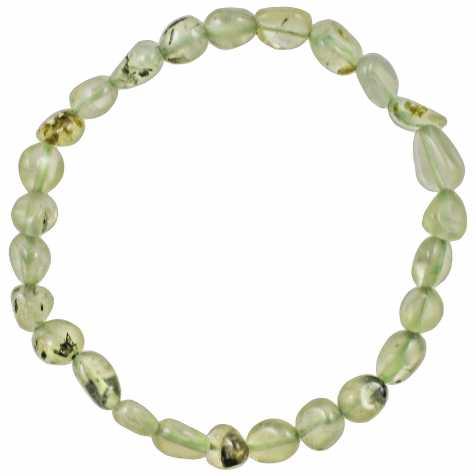 Bracelet en préhnite - Perles pierres roulées mini