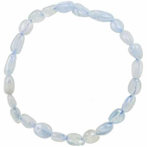 Bracelet en aigue-marine - Perles pierres roulées mini