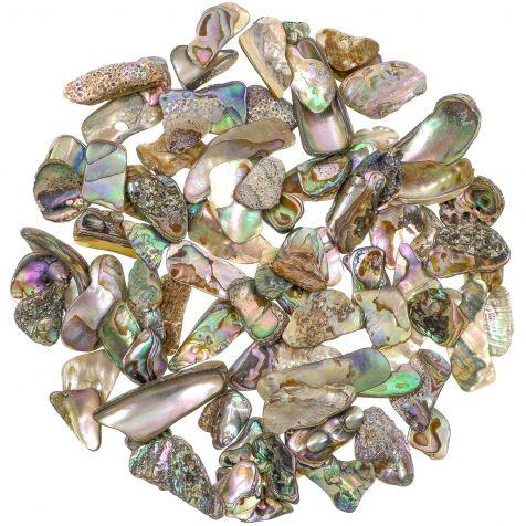 Eclats de nacre abalone de La Réunion - 1 à 2.5 cm - 100 grammes