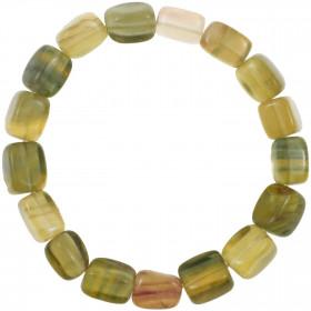 Bracelet en fluorite multicolore - Perles pierres roulées (forme carré)
