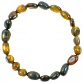 Bracelet en oeil de tigre et oeil de faucon - Perles pierres roulées