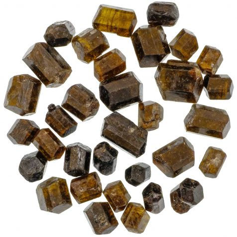 Pierres brutes tourmaline ambrée biterminée (dravite) - 1.5 à 3 cm - 50 grammes