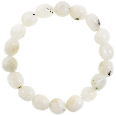 Bracelet en pierre de lune blanche - Perles pierres roulées