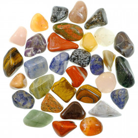 Lot de pierres roulées avec pochette offerte - Mélange Afrique - 3 à 4 cm - 800 g