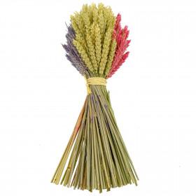 Bouquet de blé couleur lavande rose et naturel - 35 cm