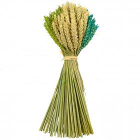 Bouquet de blé couleur vert rose et naturel - 35 cm