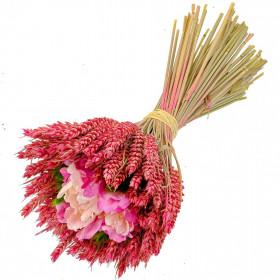Bouquet de blé rose fleurs en tissu - 30 cm