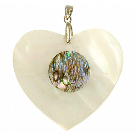Pendentif coquillage coeur en nacre incrustation abalone avec chainette