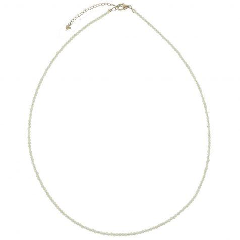 Collier en pierre de lune blanche - Perles facettées ultra mini - Argent 925