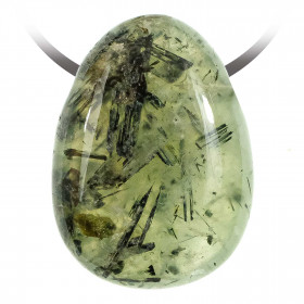 Pendentif goutte pierre percée en préhnite épidote
