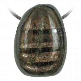 Pendentif goutte pierre percée en hypersthène
