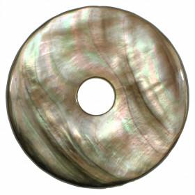 Donut Pi Chinois en nacre grise pour pendentif